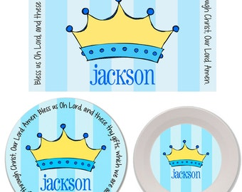 Personalized Kids Melamine Plate, Bowl and Placemat Set - Melamine Dinnerware Set - Mealtime Set - Kids Plate and Bowl Set - Prince Crown