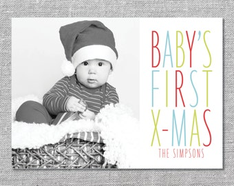 Photo Holiday Card   DIY Printable or Printed   Baby's First Xmas   Baby's First Christmas   5x7