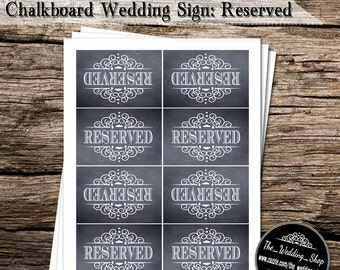 "Instant Download- Printable DIY 8 x 2.5"" x 3.75"" Chalkboard Wedding Sign: Reserved"