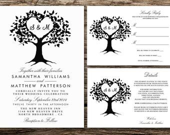 Printable Wedding Invitation Set - Invitation - RSVP Card - Details Card - DIY Wedding - The Heart Tree Collection Design