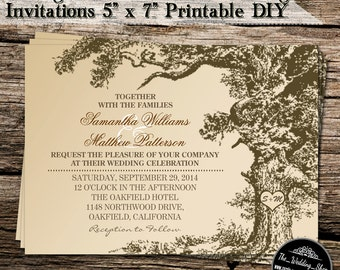 "Vintage Old Oak Tree DIY Wedding Invitations 5"" x 7"" Printable JPEG File"