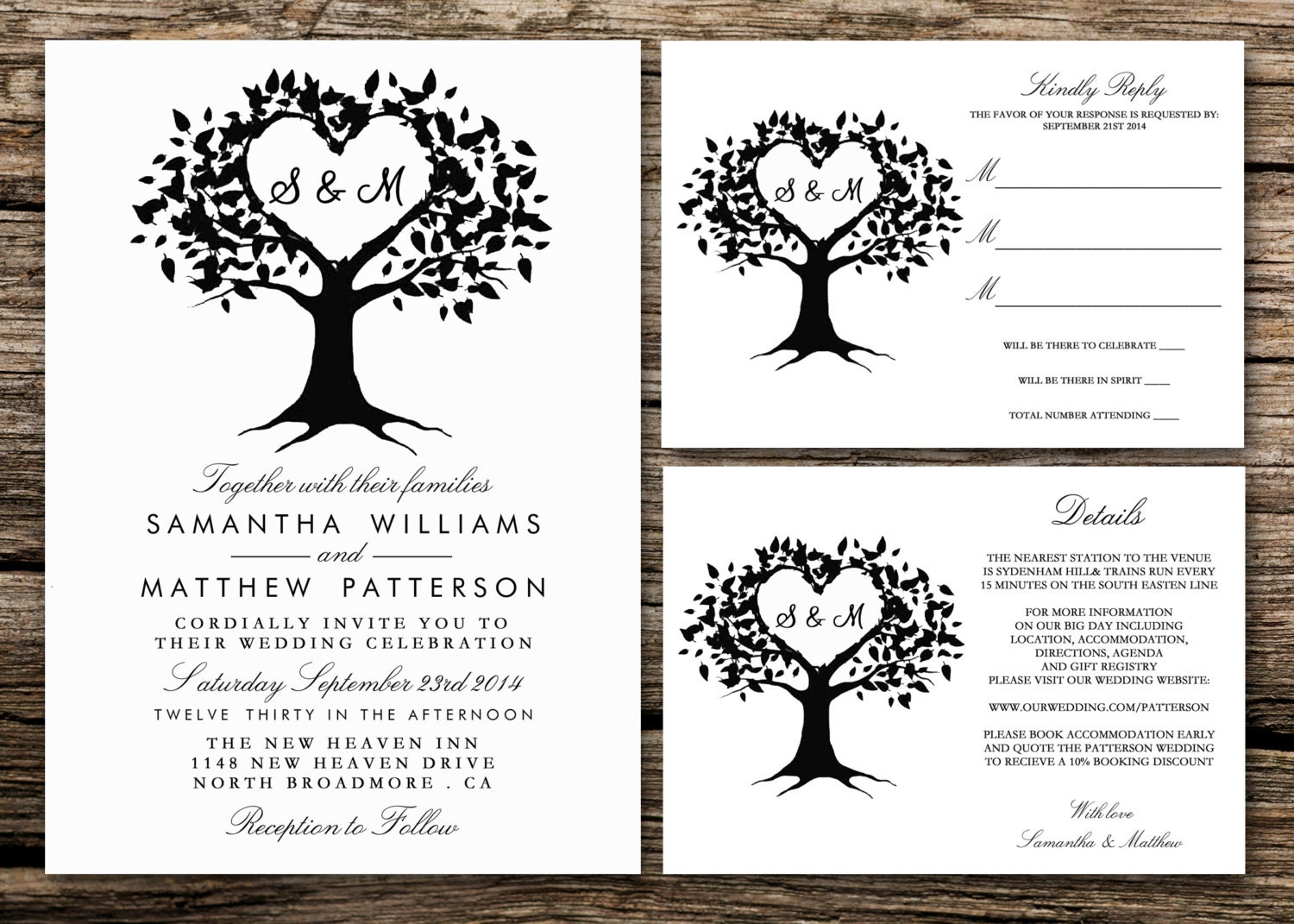 Printable wedding invitation set invitation rsvp card for Free printable tree wedding invitations