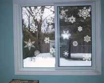 34 piece Snowflakes window frosting/ etched glass - vinyl glass decals
