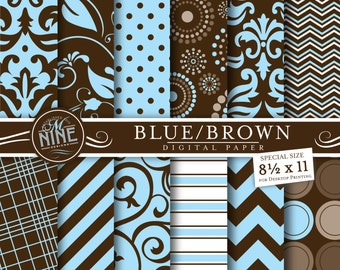 BROWN & BLUE Digital Paper: Pattern Prints, Instant Download, 8 1/2 x 11 Variety of 12 Patterns Backgrounds Print Baby Boy