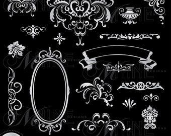 SILVER VICTORIAN Design Elements Digital Clipart, Instant Download, Vintage Accents Frame Borders Clip art Illustrations