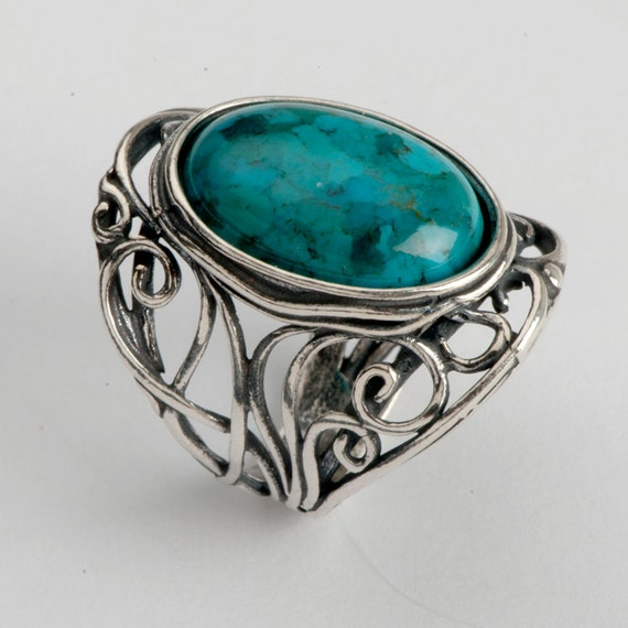 Turqouise ring, Sterling silver, blue gemstone, Medieval inspired, birthstone jewelry