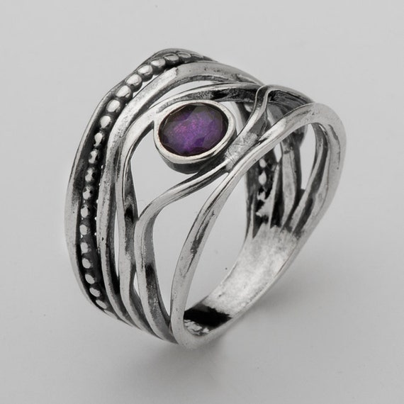 Dark Amethyst Ring By Shablool Didae Israel Sterling Silver 925