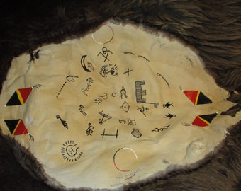 """Beaver Pelt WINTER COUNT titled """"Journey"""", One-of-a--kind, Comes with Story Board translating Pictographs."""