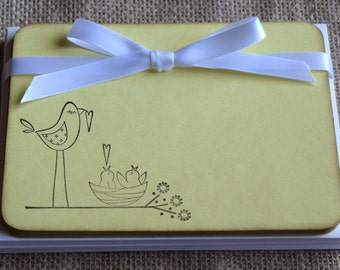 Set of 10 Flat Note Cards / Stationery - hand stamped birds
