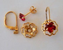 Ruby Red Earring Jacket Set  Includes Red Cubic Zirconia Posts, Gold Flower Style Earring Jacket and Earring Convertible