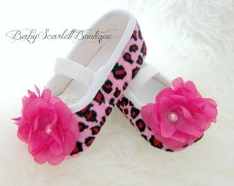 Pink Leopard Baby Girl Shoes,Crib Shoes,Soft Sole Shoes