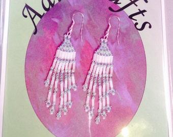 Beaded Dangly Earring Kit, in 2 colour ways, Bead Weaving Beginner / Intermediate Kit by Aarticrafts
