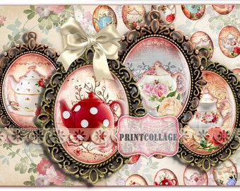 Shabby Chic Tea set Digital Collage Printable Sheet 30x40 mm 30x22 mm 25x18 mm 18x13 mm Cabochon oval images pendants Instant download C97
