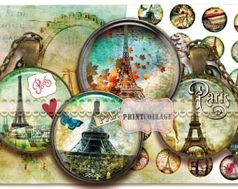 Vintage Paris images Printable Digital Collage Sheet Cabochon images 1.5 inch 18mm 14mm 1inch circle Instant download bottle caps C109