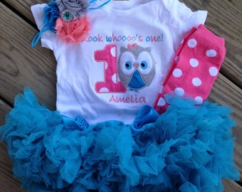 Coral pink and turquoise owl birthday outfit -1st birthday owl shirt polka dot leg warmers - custom personalized owl birthday shirt