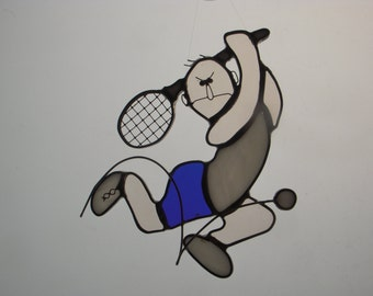 Stained Glass Suncatcher - Tennis Man (309)