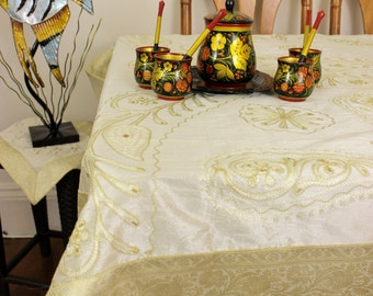 """Ornamental Embroidered Rectangular Tablecloth (Beige, 52"""" X 70"""")"""