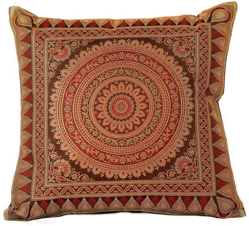 Oriental Throw Pillow Covers : Exotic Oriental Pillow Cover Set of 2 Coffee Brown