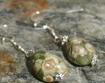 Transformational Rhyolite Stone Earrings - Dangle Earrings, Stone Earrings, Rhyolite