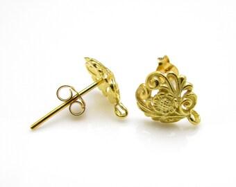 2 Pcs (1 Pair),  24k Gold Vermeil Ear Stud + Ear Nuts