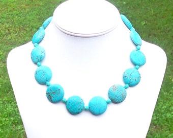 Large Turquoise Necklace Big Turquoise Necklace 25mm Turquoise Necklace Round Turquoise Bead Necklace Aqua Gemstone Necklace Turquoise Coin
