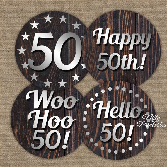 50th Birthday Cupcake Toppers Wood 50th Birthday Party