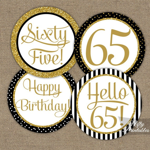 65th birthday cupcake toppers black gold 65 years bday for 65th birthday party decoration ideas