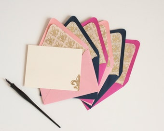HH Signature Fleur / Personalized Stationery Gold and Ivory Fleur-de-Lis Lined Envelopes and Flat Ivory Cards with Gold Embossing