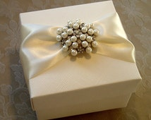 Opulent Pearl and Diamante Brooch Decorated Gift Box. Bespoke. Various Colour Options.