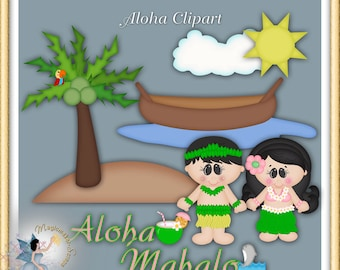 Luau Clipart, Tiki, Hawaiian Party, Vacation, Aloha