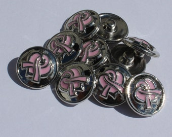 NOOSA Style SNAP Jewelry Chunk Popper Charm Button - Breast Cancer Awareness Pink Ribbon (with heart)