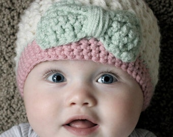 Baby Girl Hat, Toddler Girl Hat, Crochet Hat, Cream and Pink Hat with a Mint Green Bow