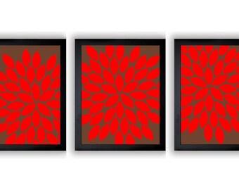 INSTANT DOWNLOAD Brown Red Chrysanthemum Set of 3 Art Printable Abstract Art Flower Print Wall Decor Modern Minimalist Bathroom Bedroom