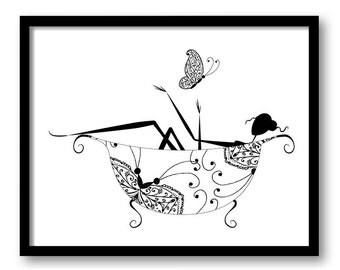 INSTANT DOWNLOAD Black White Bathroom Girl in Bathtub Bath Tub Butterfly Printable Bathroom Print Art Print Wall Decor Modern Silhouette