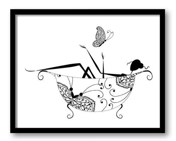 Instant Download Black White Bathroom Girl In Bathtub Bath Tub Butterfly Printable Bathroom Print Art Print