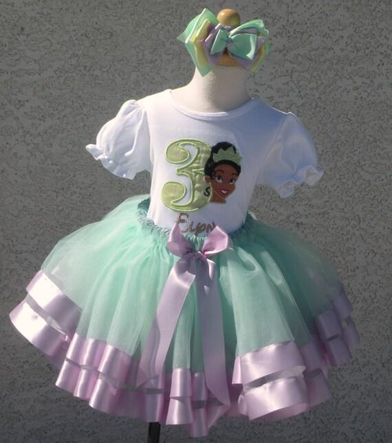 Princess Tiana Shoes: Princess Tiana Satin Ribbon Tutu-Personalized Birthday