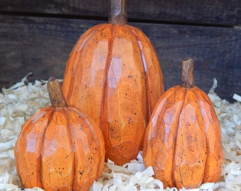 Hand Carved Pumpkins (3) from basswood.