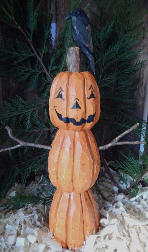 Items similar to hand carved jack o lantern man with