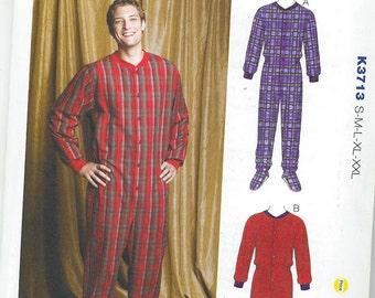 Sewing Pattern - Men's Footed or Footless Pajama Sleeper  Kwik Sew Patterns #K3713