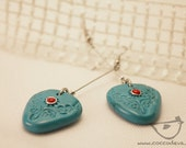 Polymer clay turquoise coral earrings, earrings & in pasta polimerica turquoise and coral