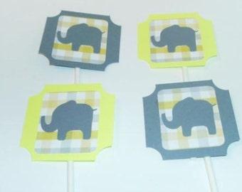 Gender Reveal Cupcake toppers Elephants (202C)