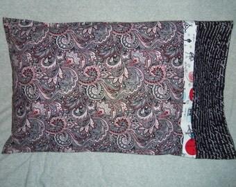 Paris Love Theme Pillowcases Black White Red Paisley Standard or Queen
