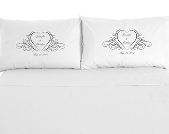 Custom Wedding Pillowcases with Names and Date, Love, Wedding Gift, Anniversary, Valentine's Day Gift, Set of 2