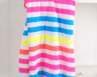 Cotton Jersey Knit Fabric Neon Stripe Pink & Blue By The Yard