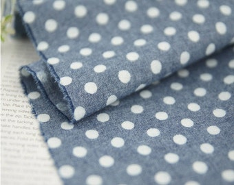 "Chambray Cotton Fabric 0.27"" (0.7 cm) Polka Dot By The Yard"