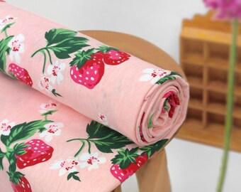 Cotton Jersey Knit Fabric Strawberry Salmon Pink