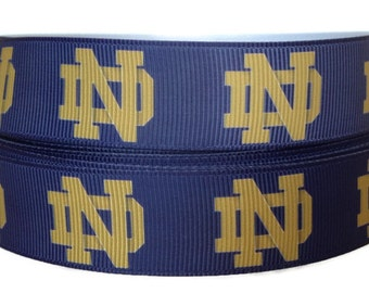 7/8 inch Grosgrain University of Notre Dame Ribbon, Notre Dame Ribbon, Notre Dame Grosgrain, Sports Ribbon By The Yard by KC Elastic Ties