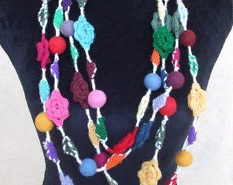 colorful wool crochet necklace felt flowers