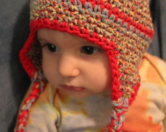 Cotton  crocheted baby hat with ear flaps, 4-6 months, multicolor, verigated with red trim.