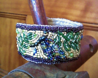 Bead Embroidered Cuff Bracelet - Dragonfly